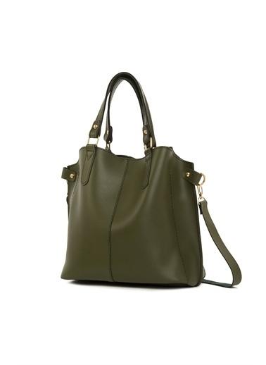 Bagmori Kadın Üç Bölmeli Çıtçıt Detaylı Çanta M000002918 Haki